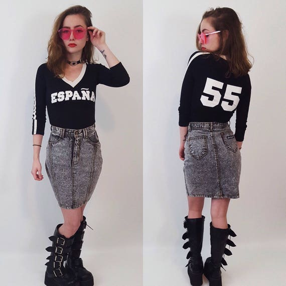 90s Vintage España Number 55 Sporty Black & White Tee - Stretchy Racing Stripe Small Long Sleeve Jersey Top - Athletic Health Goth Fashion