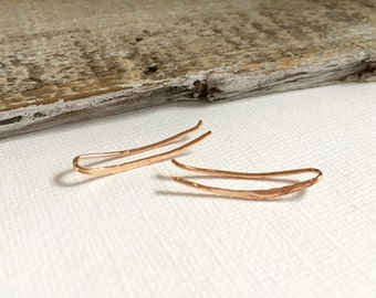 Rose Gold Ear Climber Earrings, Rose Gold Ear Crawlers, Silver Bar Ear Crawlers, Bohemian Jewelry, Gift For Her Under 25