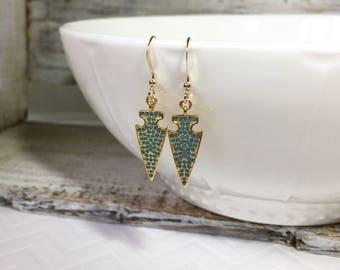 Turquoise Arrow Earrings, Gold Arrow Earrings, Bohemian Earrings, Arrow Drop Earrings