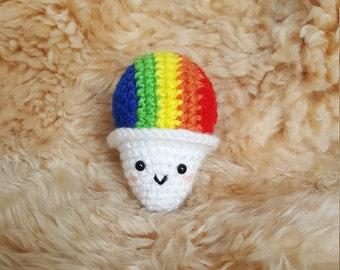 Mini Crochet Amigurumi Snow Cone Plushie, Crochet Snow Cone Plushie, Crochet Shave Ice Plushie, Shaved Ice Plushie