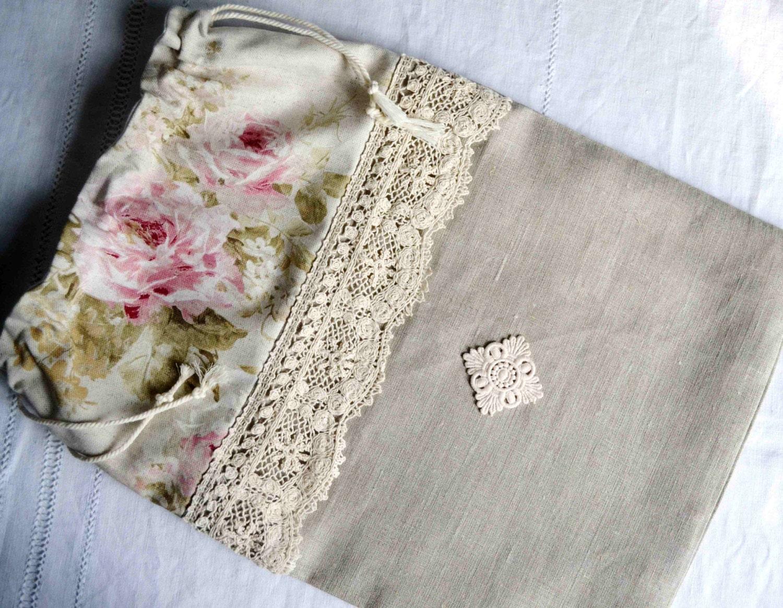 sac pain en lin naturel dentelle et tissu fleuri cuisine. Black Bedroom Furniture Sets. Home Design Ideas