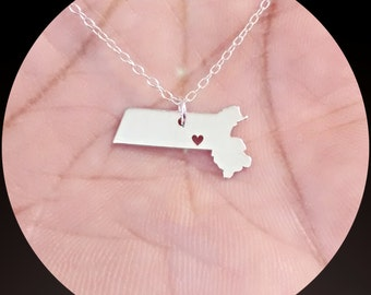 Massachusetts State Necklace - Engraving Pendant - Sterling Silver Jewelry - Gold Jewelry - Rose Gold Jewelry - Personalized Jewelry - Gift