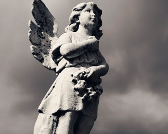 Photography of an angel, emotion, adore, wings of angel, statue cemetery, B/W photo, artistic photography, serenity, peace, mourning