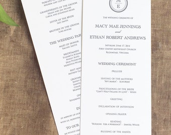 Circle Monogram Wedding Ceremony Programs, Panel Style Wedding Ceremony Program, Macy Wedding Programs, Order of Service