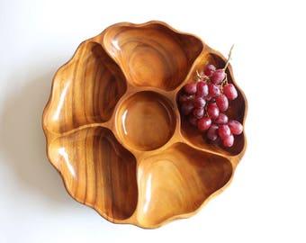 Monkey Pod Serving Platter Tray Decorative Wood Bowl Spinning Serving Platter Boho Home Decor