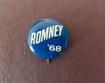Vintage 1968 George Romney Campaign Button - Mitt's Dad!