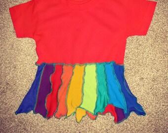 12-18 mths childrens rainbow t shirt top patchwork handmade upcycled hippie pointy hem pixie hippie hippy boho colourful ooak