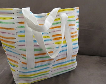 Colorful Market tote bag, cotton bag, reusable grocery bag, Green Market bag, knitting project bag.