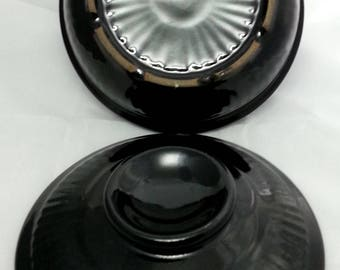 Vintage Black Stoneware Ribbed Covered Dish, Small Pottery Bowl