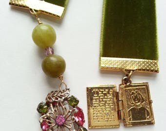 Olive Green Velvet Ribbon Bookmark Vintage Jewelry, Book Mark, Book & Rhinestone Charms