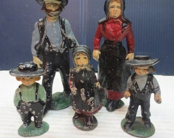 Vintage Amish Cast Iron or Lead Family of 5 Hand Painted Figurines Americana