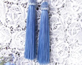 Tassle earrings Long blue tassel earrings Beaded dangle earrings Summer trend seed bead earrings Blue wedding gift for her Fringe Luxury