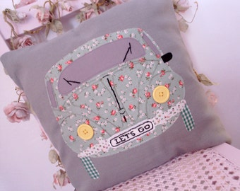 Cushion cover, pillow cover, Beatle car, applique, green, car applique, Beatle car