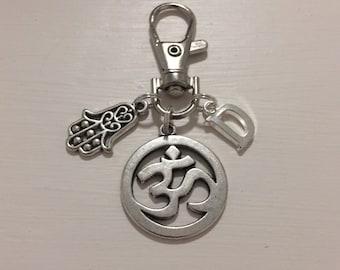 Ohm Keychain - Hamsa Hand Keychain - Initial Keychain - Personalised -  Yoga Gift