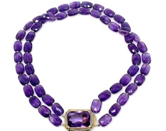 14k double strand faceted amethyst with pearls