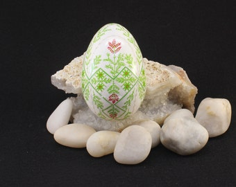 Pysanky Asparagus Ferns and Pink Flowers on Turkey Egg Shell. Ukrainian Easter Egg, Batik