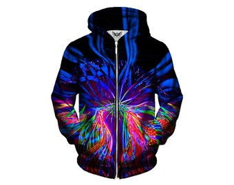 Psychedelic Zip-Up Hoodie - Trippy Light Show Artwork - EDM Festival Clothing - Sublimation Print Hoody