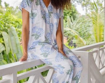 Maggie Pajama Set - Long Pants - Hydrangea BLUE - Code P043 / P005 (c)