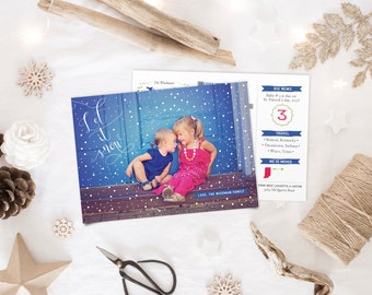 Christmas Holiday Cards with Photos - Printable or Printed Year in Review - Let It Snow
