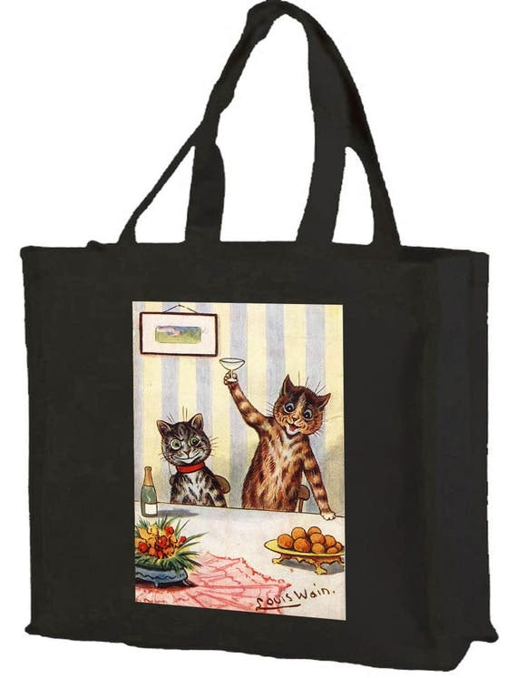 Louis Wain Toasting Cats Cotton Shopping Bag with gusset and long handles, 3 colour options