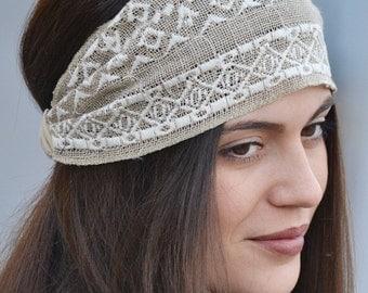 Burlap Turban, Hair Accessorie, Burlap Wrap, Workout Turban, Workout Headband, Fabric Headwrap, Headwrap, Head Wrap, Natural Turbans, Knited