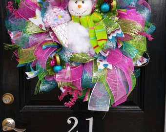 Large Mesh Wreath Bright Colorful Ice Cream and Candy Snowman Winter Christmas Holiday Ribbon Snowflakes Blue Pink Green