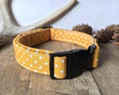 Dog collar. Cat collar. Mustard yellow, polka dot, fabric collar. 10mm, 15mm, 20mm, 25mm. Cat collar uses safety buckle. Custom