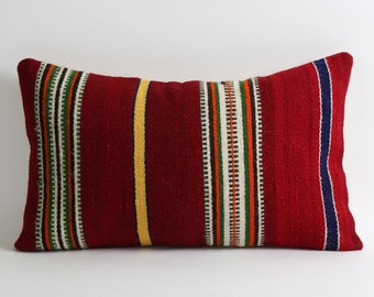kilim cushion cover, lumbar kilim pillow red kilim pillow 12x20 decorative pillow