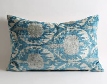 16x24 ikat velvet pillow ikat pillow velvet pillow blue gray pillow ikat lumbar pillow designer pillows blue ikat pillow