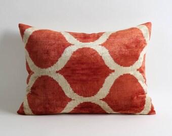 Orange red velvet pillow cover // handwoven hand dyed decorative throw silk velvet ikat pillows