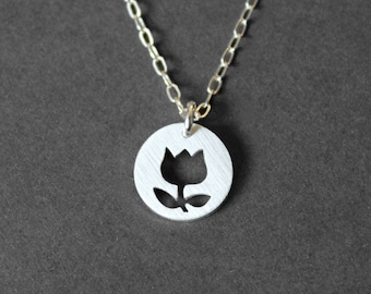 Handmade Sterling Silver Tuilp Necklace - Handcrafted Silver Jewelry - Silver Necklace