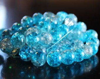 80 approx. aqua and clear, 10 mm crackle glass beads, 1.5mm hole