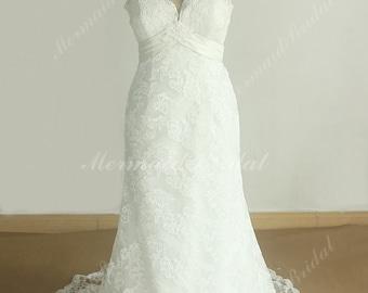 Keyhole Back Ivory Sheath Lace wedding dress with Scallop deep v neckline