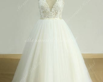 Open Back See Thru Vintage Lace Wedding dress with Princess Cut Skirt and Illusion Deep V neckline