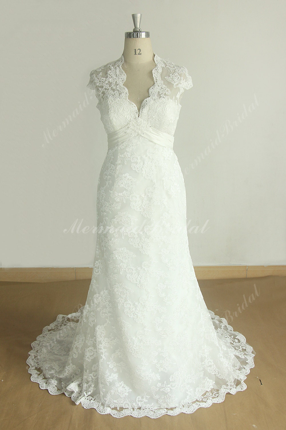 Keyhole Back Ivory Sheath Lace Wedding Dress With By MermaidBridal