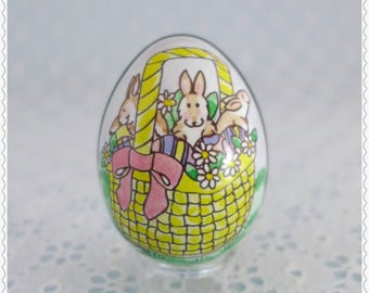 Litho Tin Egg, Vintage Collectible, Small Metal Egg, Bunnies in Easter Basket, Pastel Easter Decor, Made in Switzerland