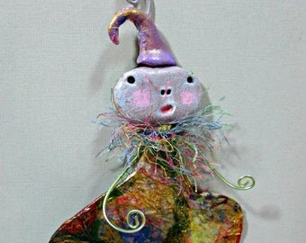 Art Doll OOAK Original - Paper Clay/ Mixed Media One of a kind Whimsical Ornament or Wall Art/ Gift