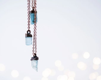 Aquamarine crystal necklace | Raw aquamarine jewelry | Raw aquamarine pendant | Rough aquamarine stone