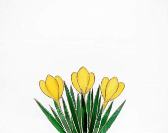 Stained Glass Crocus Suncatcher~3D  Suncatcher~ Suncatcher, Handmade~ Glass Flower~Glass Art~ 3D~Yellow Crocus~Unique Gift~ 8 3/4 x 6 3/4.