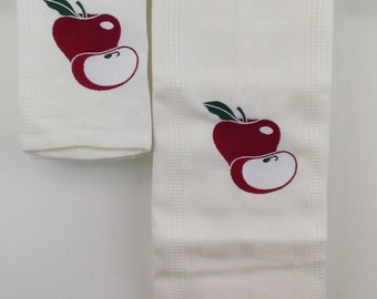Apple Embroidered Bamboo Hand Towel and Dish - White