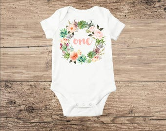 First Birthday Baby Clothes, Cactus Flower Wreath with One