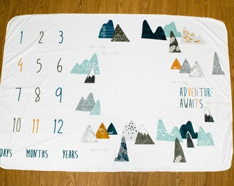 Adventure Awaits Baby Milestone Blanket, Max Mountains Monthly Milestone Blanket, Newborn Photo Prop, Adventurer Monthly Baby Blanket