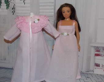Handmade Lammily Doll Clothes.    Sweet Pink & Roses Nightgown and Robe Set.  Clothes do not fit Barbie sized dolls.