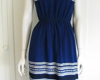 50's ~ 60's patio dress blue  cotton  southwest  size small medium
