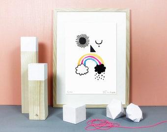 The Weather Man   linocut, linoprint, lino, print, illustration, rainbow, neon, art, artprint, blockprint, limited, weather, clouds, sun, A4