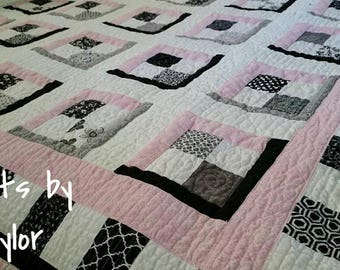 Handmade Pink Quilt, Made to Order, Black and White Quilt, Pink and White Quilt, Custom Made Quilt, Pick your Size