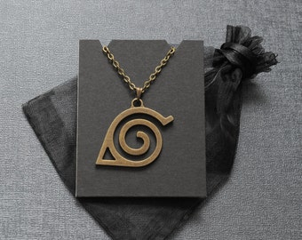 Naruto necklace – Hidden Leaf Village emblem – symbol jewelry / jewellery – cosplay prop – convention accessory