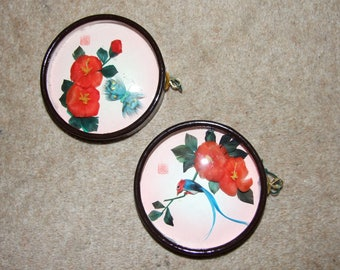 Set of 2 Vintage Chinese Bird & Butterfly Framed Art Pictures - In Original Box - 10cm in Diameter