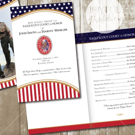 Eagle scout court of honor program printable 8 1 2 x for Eagle scout court of honor program template