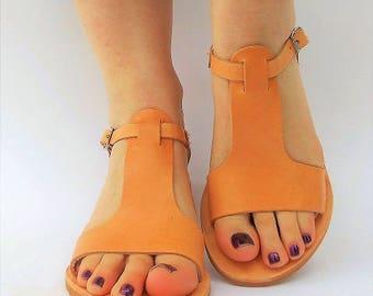 KRINIO Greek Women Sandals, Ancient Greek Sandals, Natural Leather Sandals, boho grecian style leather sandals
